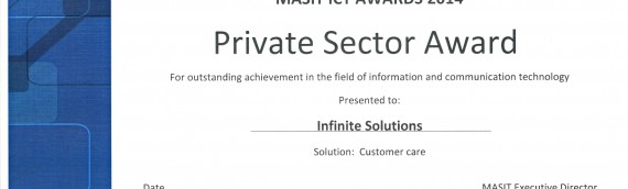 Infinite Solutions – Winner in Private Sector category at MASIT ICT Awards 2014